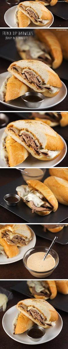 Everyday French Dip Sandwiches! Thin sliced roast beef is heated in a delicious spiced up beef stock, then placed on toasted rolls with a special sauce and melted provolone cheese.