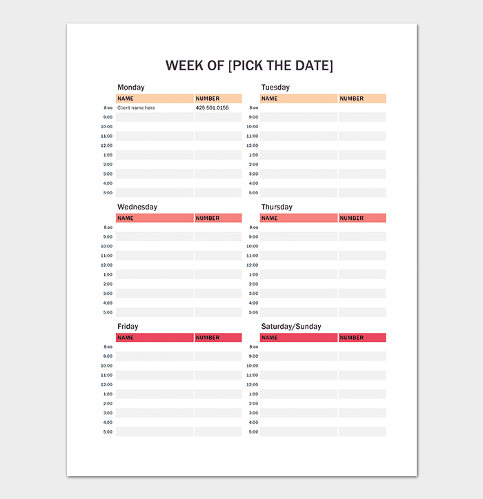 Free Printable Weekly Appointment Calendar  Calendar Templates