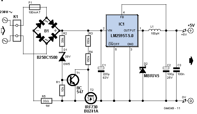 Transformerless Power Supply Of 1a At 5volts Electronic Schematics Power Supply Power Supply Circuit