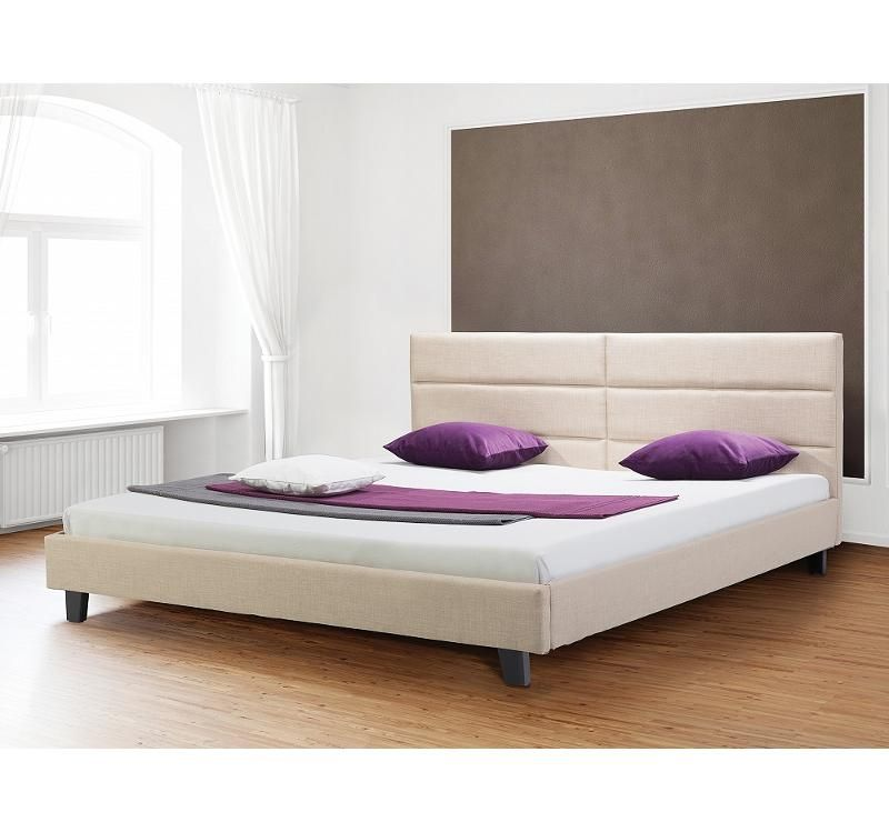 lit en tissu lit double 160x200 cm sommier inclus beige orleans meubles maison. Black Bedroom Furniture Sets. Home Design Ideas
