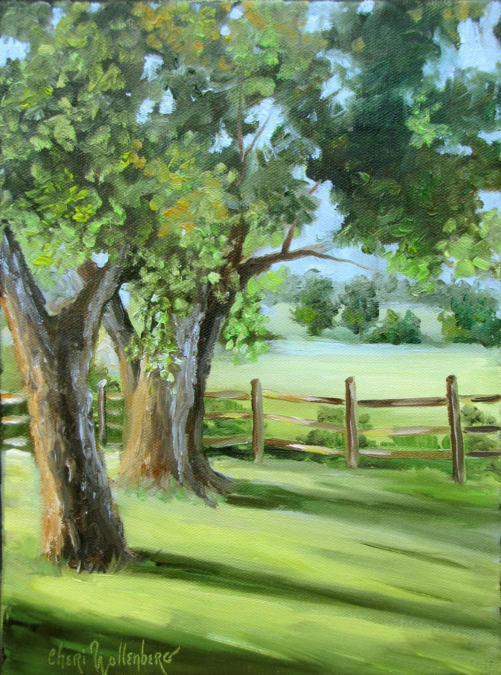 Landscape,Original Painting,Oil Painting,Greens,9x12,Trees,Gallery ...