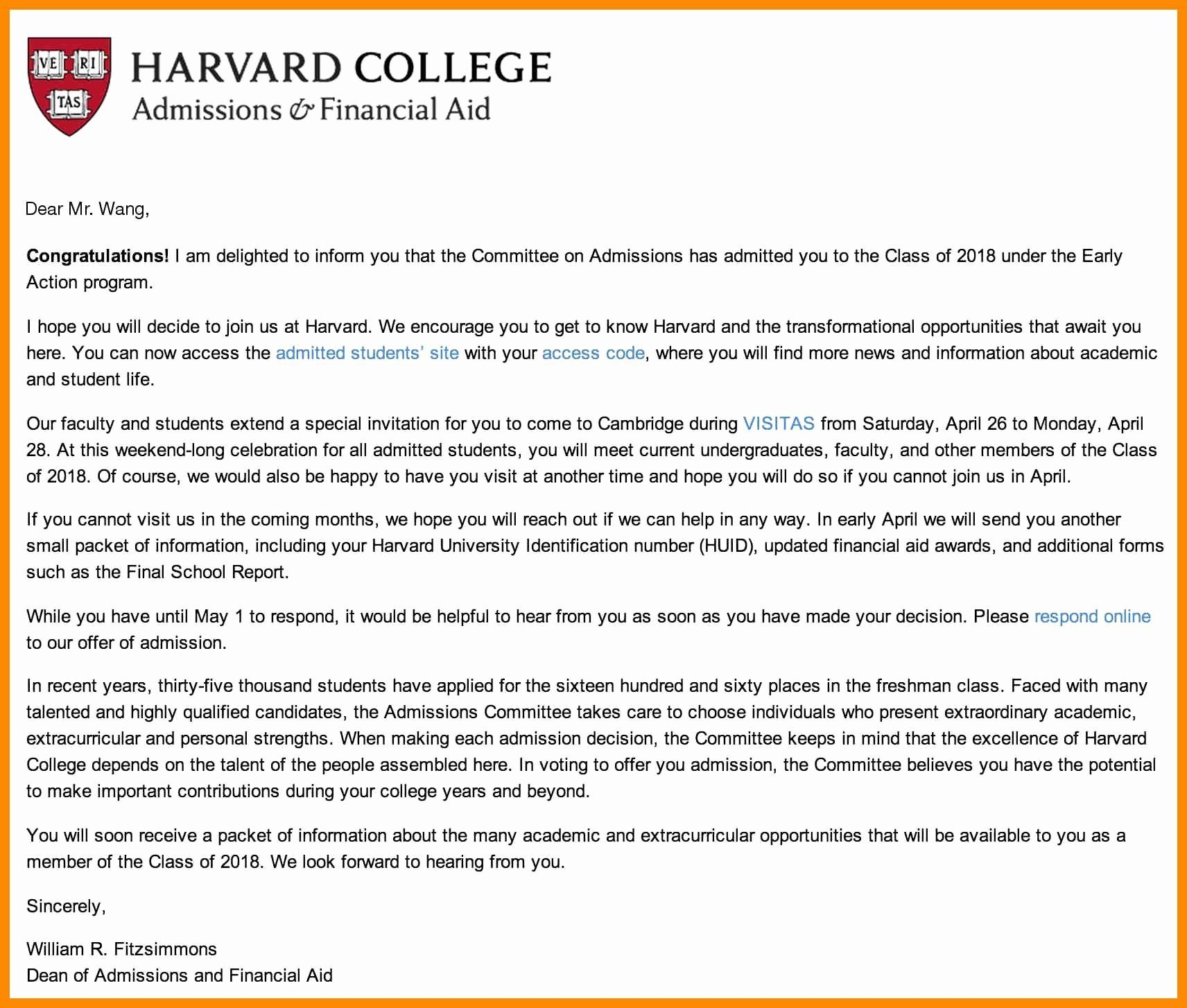 27 Harvard Cover Letter College Acceptance Format And Bussines