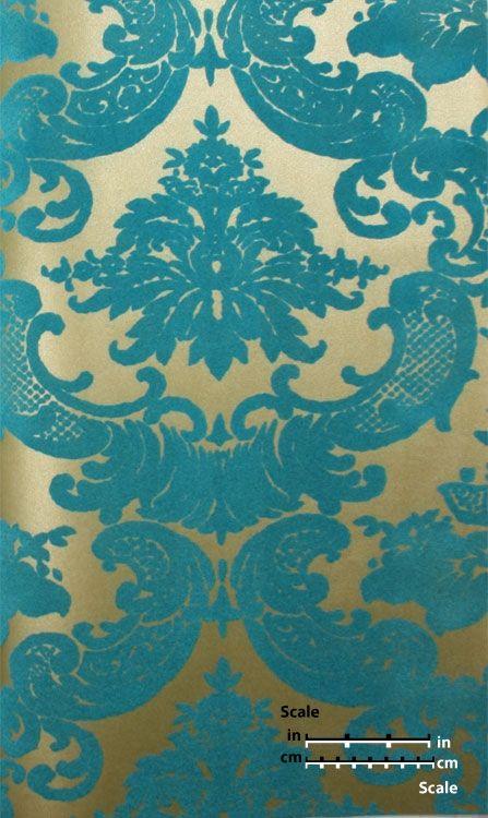 Classical damask gold leaf teal velvet plush flocked for Flock wallpaper