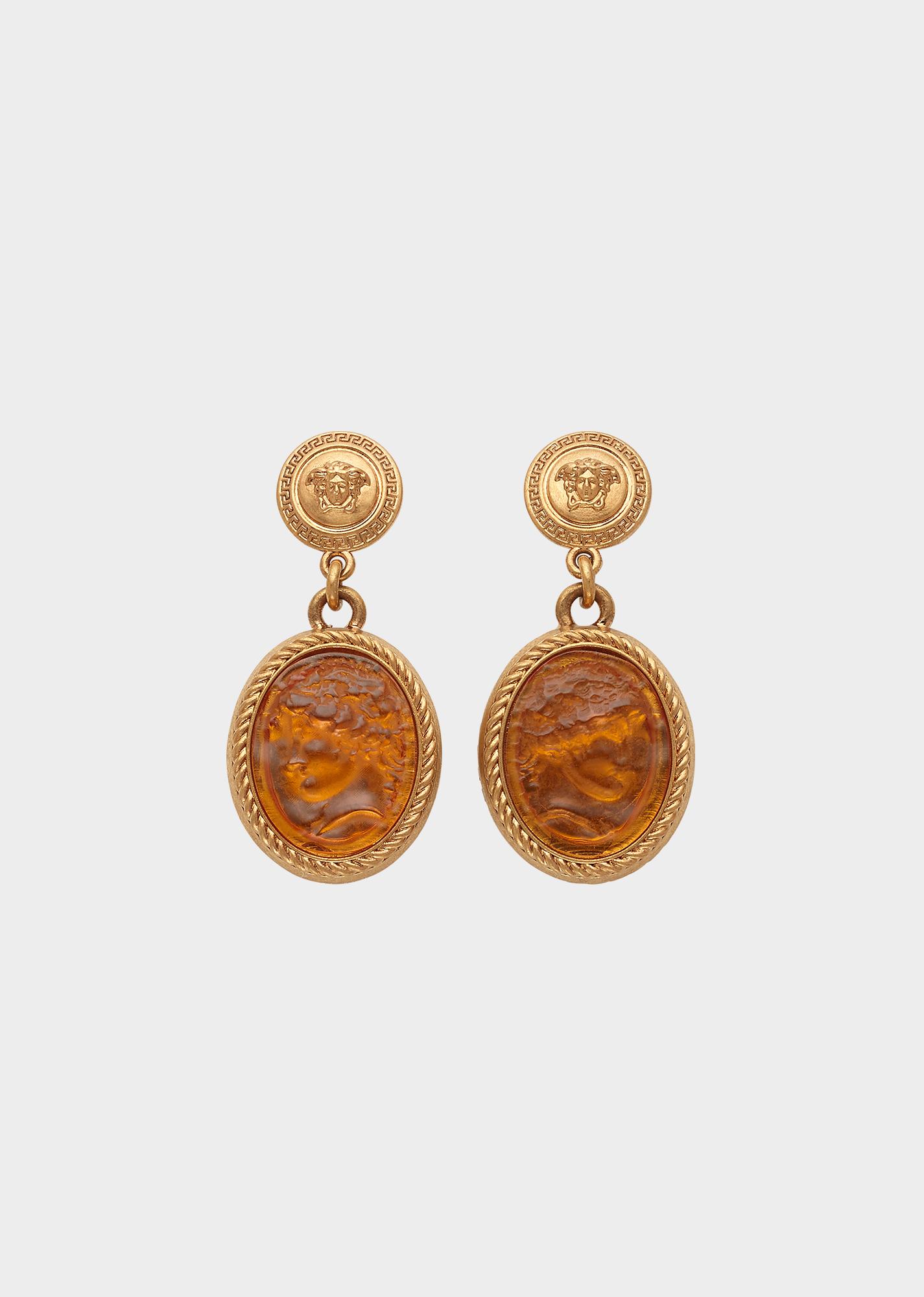 3ed948444 Versace Resin Relief Medusa Drop Earrings for Women | US Online Store