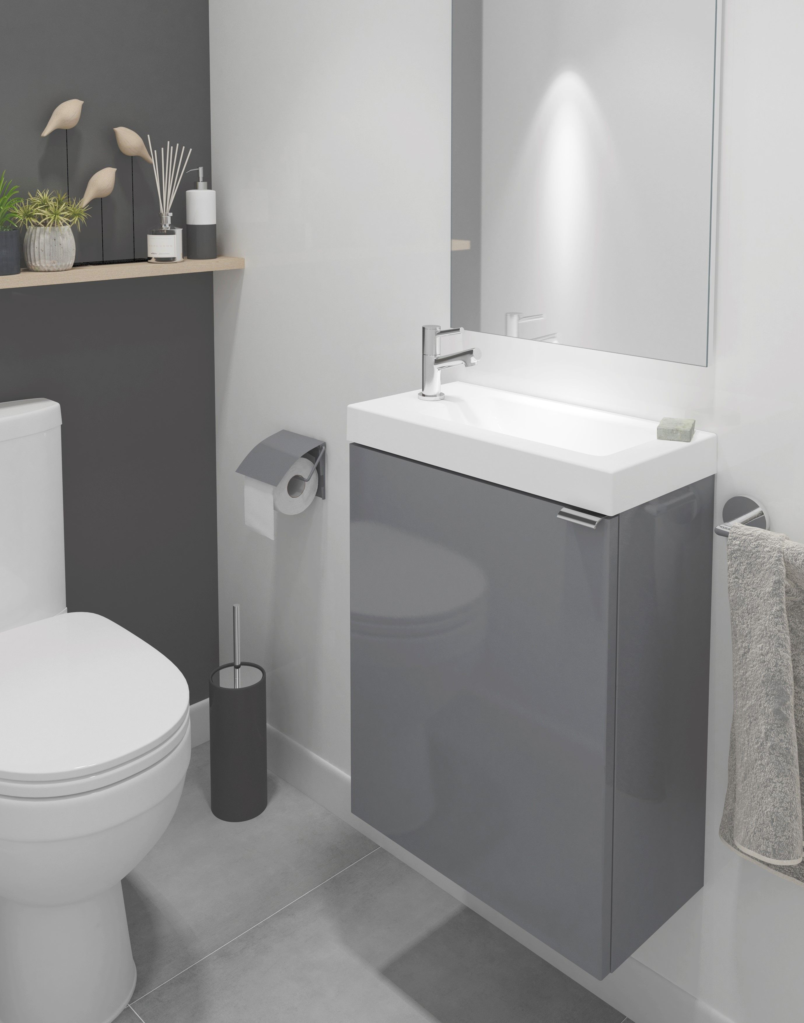 If You Have A Small Bathroom Then B Q S Imandra Collection Is The Ideal Solution This Grey Gloss S Small Toilet Room Small Downstairs Toilet White Vanity Unit