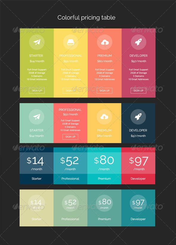 Colorful Pricing Table  Pricing Table Template And Modern Website