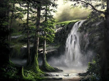 Cascada Usando La Pintura De Aceite Pinturas Pinturas De Paisajes Paisajes Bonitos