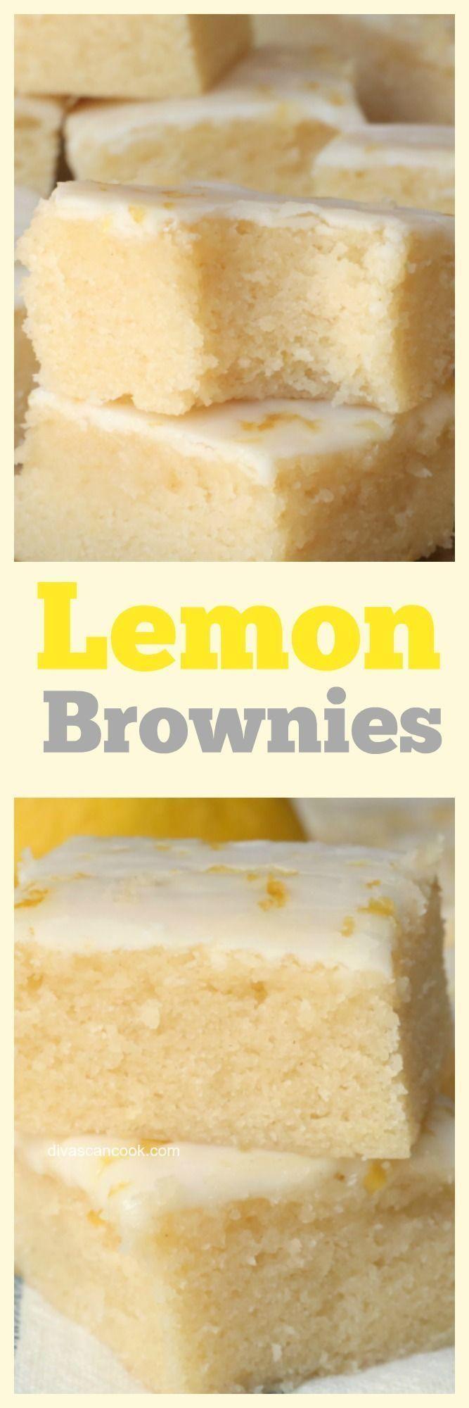 Chewy Glazed Lemon Brownies  - mama -