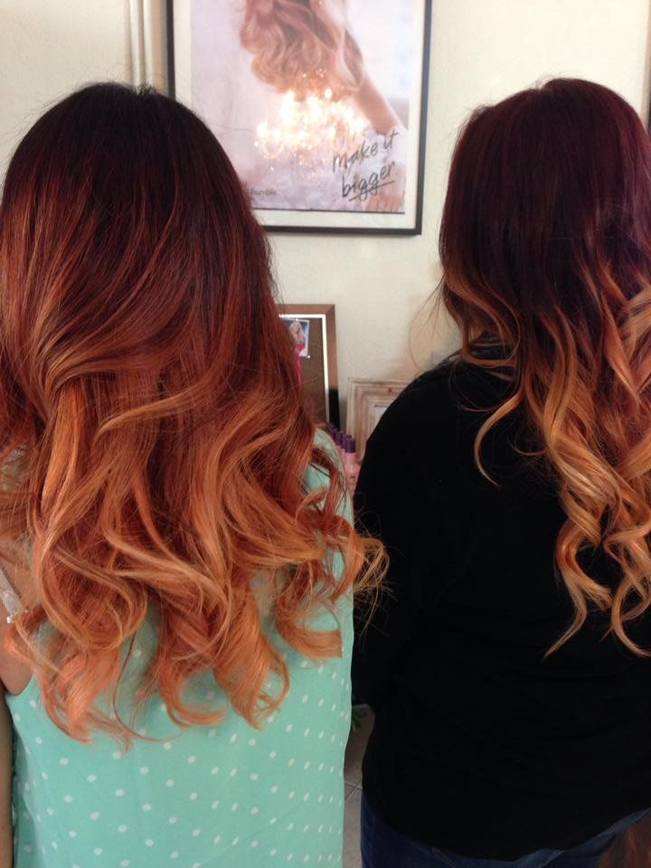 Me on the left with copper red ombre and my friend with the same ...