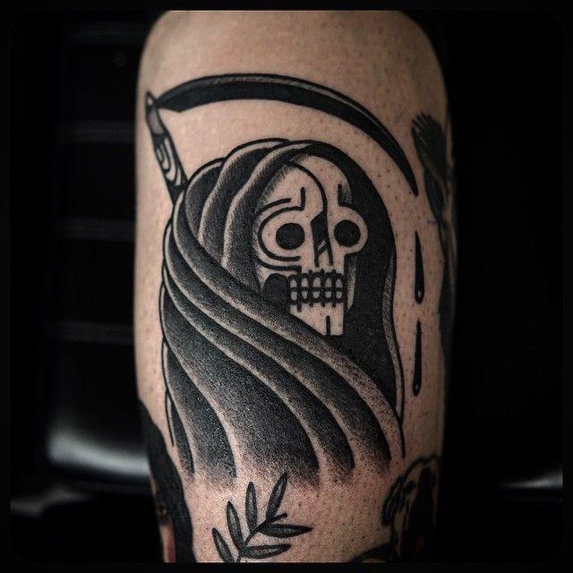 #grimreaper #tattoo #tattos Done at @skynyardtattoo On my baby @karlymonica