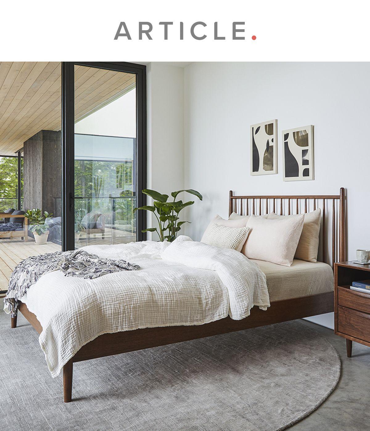 Best Lenia Walnut Queen Bed Bed Mid Century Bed Queen Beds 640 x 480