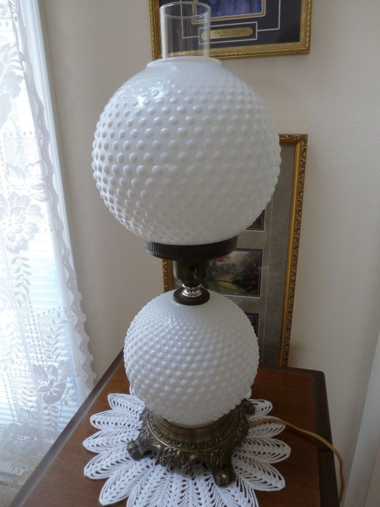 Vintage Fenton Hobnail White Milk Glass Globe Lamp 21 H 3 Way Milk Glass White Milk Glass Globe Lamps