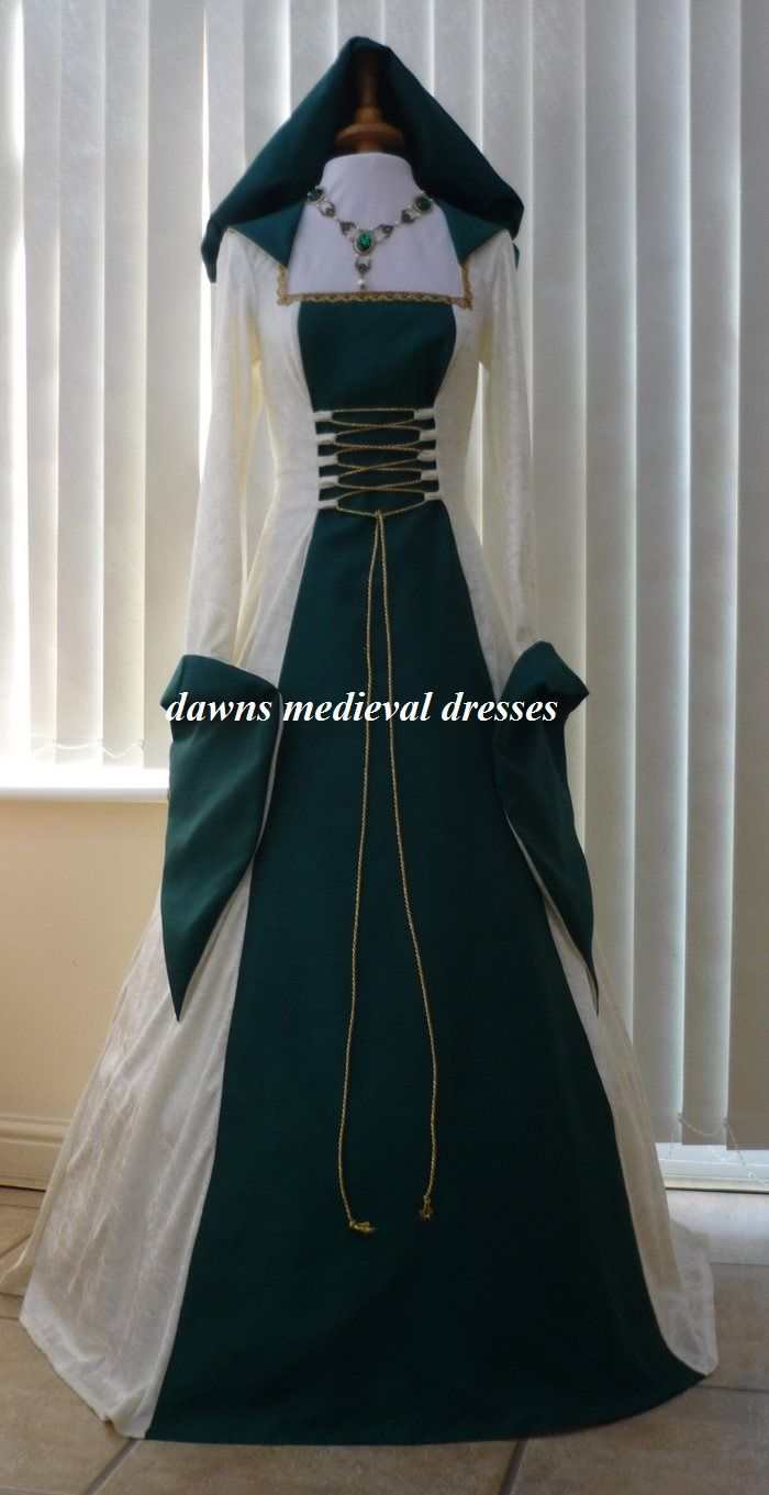 Celtic Pagan Cream & Green Wedding Dress | dresses | Pinterest ...