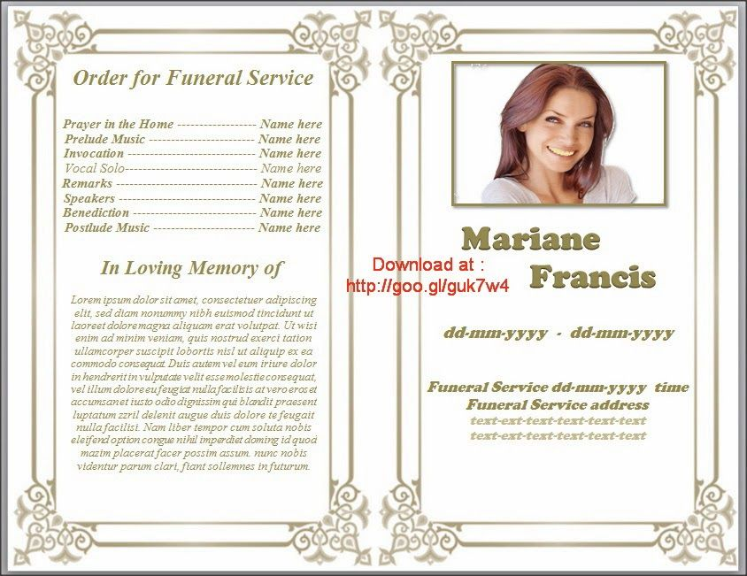 Printable Funeral Program Templates On  Http