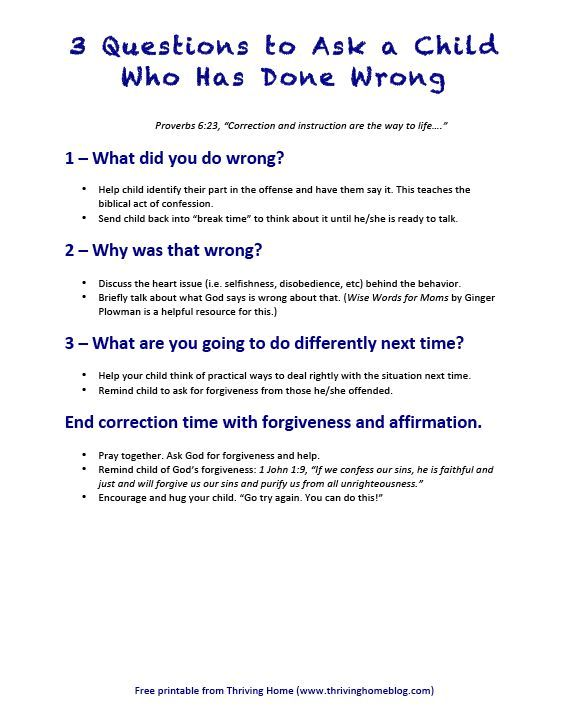 3 Questions to Ask a Child Who Has Done Wrong: