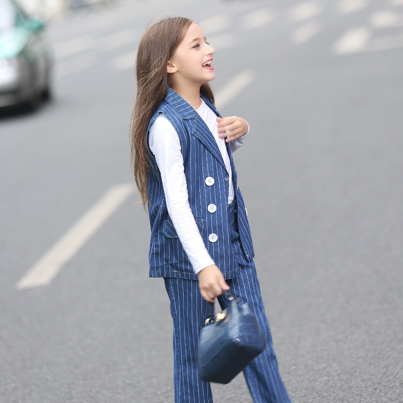 42.67$  Buy now - http://alivqv.shopchina.info/go.php?t=32767613273 - 2016 Girls Christmas Costumes Kids Clothing Set for Teens Denim Striped Fashion Business Suit Age56789 10 11 12 13 14T Years Old  #aliexpresschina