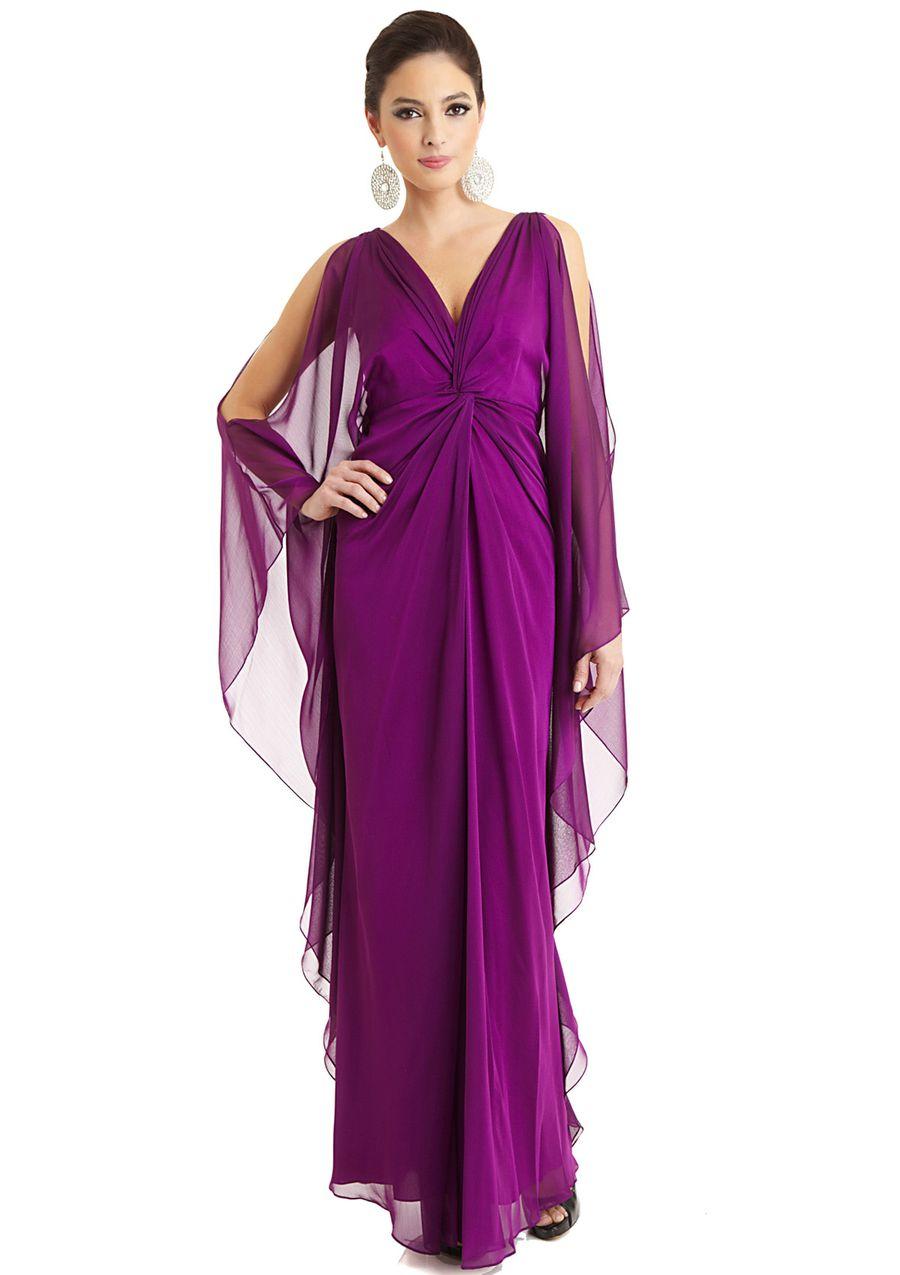 BADGLEY MISCHKA Cold-Shoulder V-Neck Gown | Dresses | Pinterest