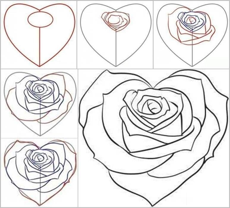 How to draw a rose from a heart rose facebook and drawings how to draw a rose from a heart ccuart Image collections