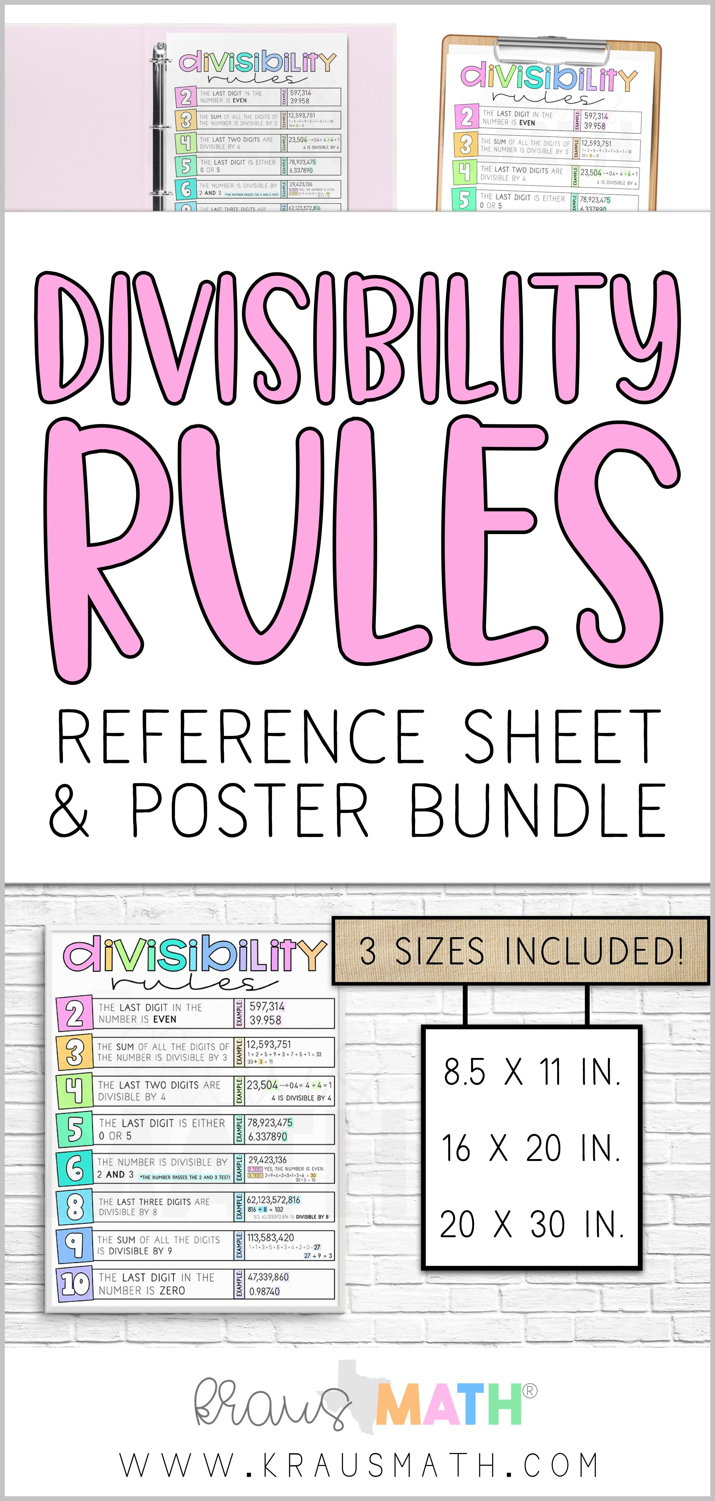 Divisibility Rules Reference Sheet Amp Classroom Poster