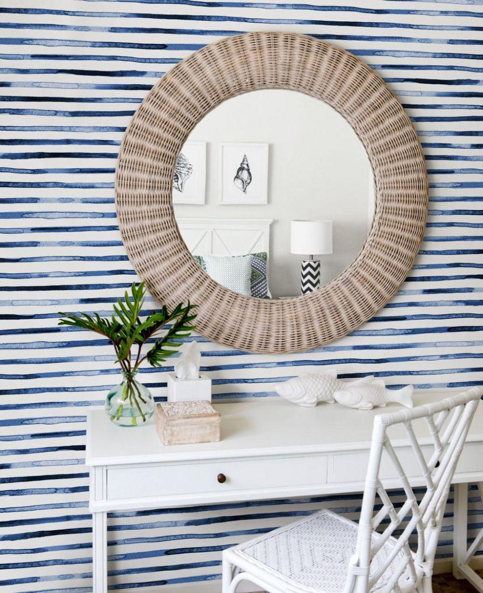 Watercolor Stripes Wallpaper Peel And Stick In 2020 Striped Wallpaper Monochrome Interior Peel And Stick Wallpaper