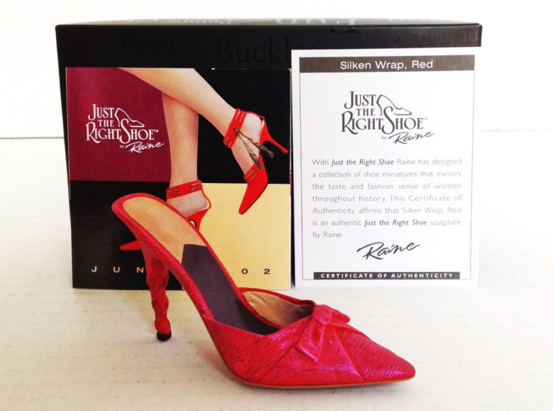 NIB JUST THE RIGHT SHOE BY RAINE/WILLITTS -SILKEN WRAP, RED 25234 W/ COA