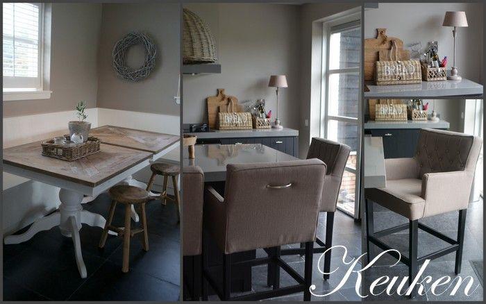 Inrichting woning door met landelijk label woonkeuken in landelijk wit met taupe - Keuken rustieke grijze ...