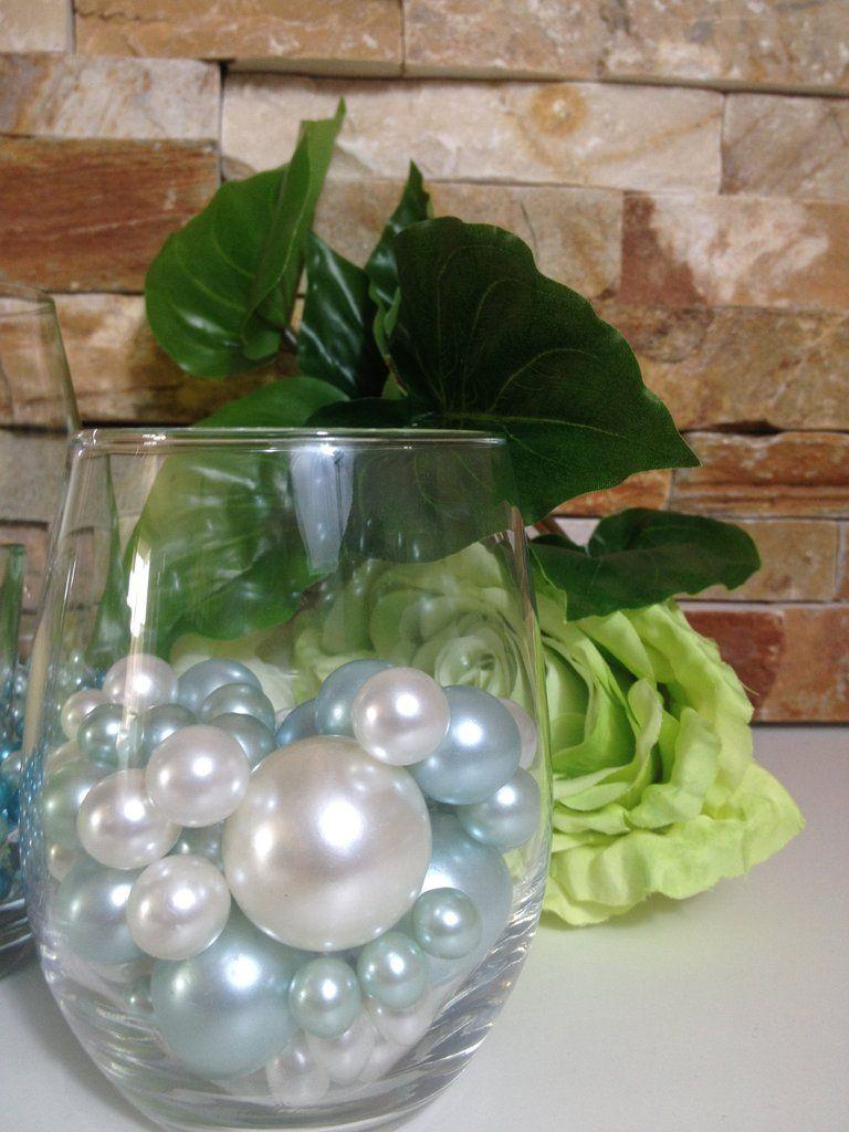 Baby light blue and white pearls vase filler pearls diy floating baby light blue and white pearls vase filler pearls diy floating pearl centerpiece reviewsmspy