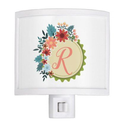 6924b94e9 Floral Wreath With Coral Pink Monogram Night Light - floral style flower  flowers stylish diy personalize