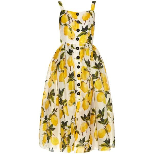 Dolce & Gabbana Lemon-print silk-organza dress (131,270 DOP) ❤ liked on Polyvore featuring dresses, dolce gabbana dresses, petite fit and flare dresses, petite dresses, lemon print dress and silk organza dress
