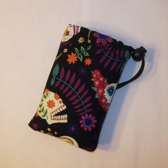 Day of the Dead Bag Glass Pipe Pouch Pipe Case by PouchAPalooza
