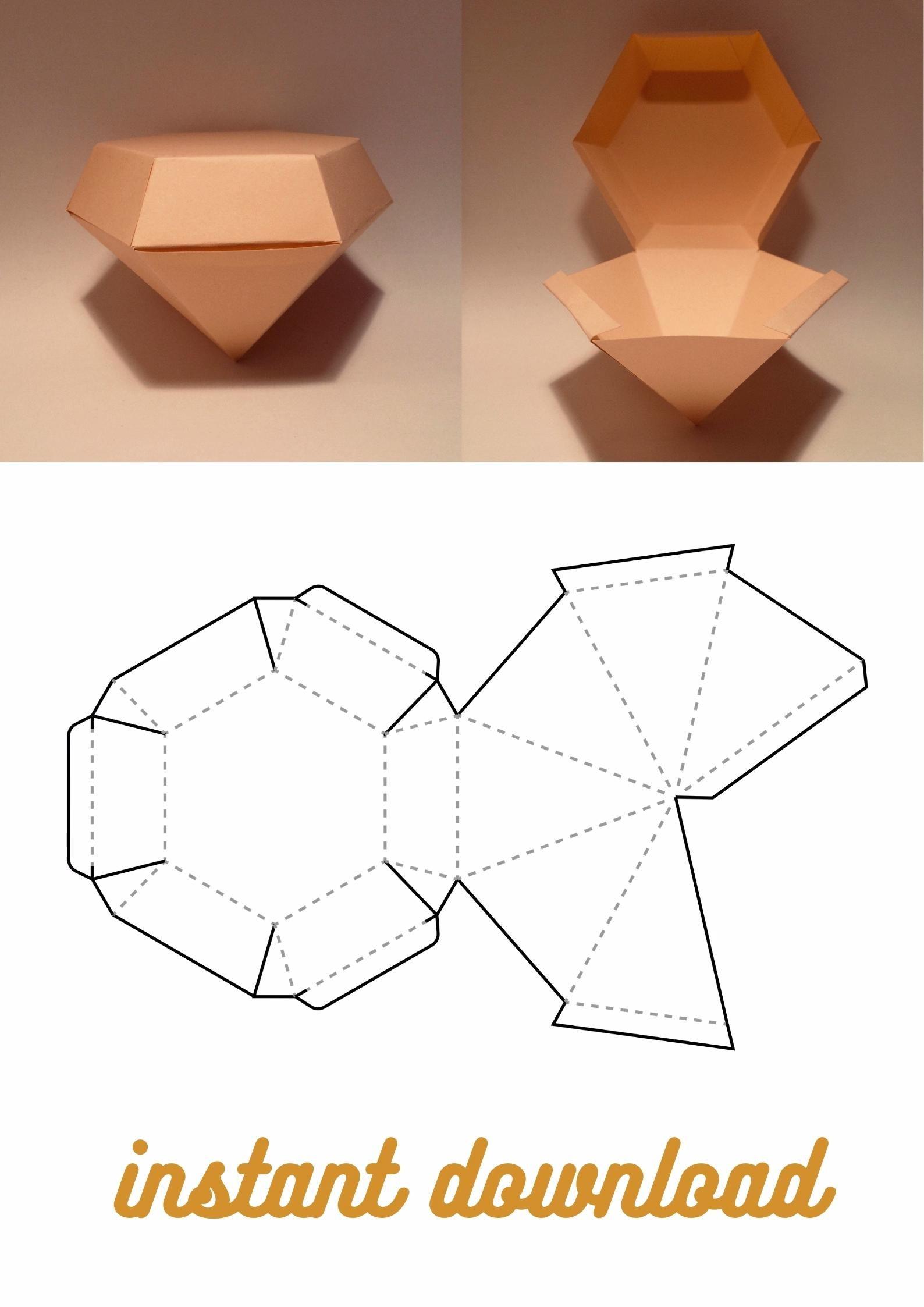 jewelry box crystal box 8.5x11 gem box A4 PDF SVG digital files A3 jewel box diamond shape box Diamond box template jewellery box