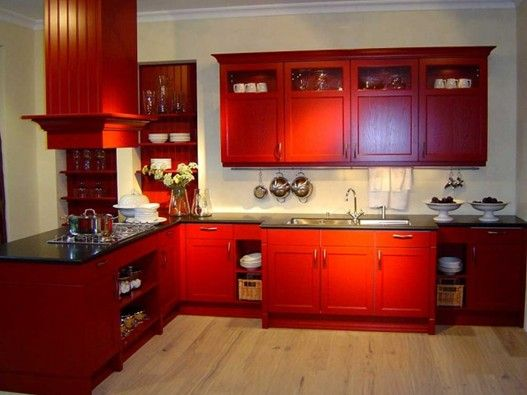 Red Color L Wooden Cabinet With Black Marble Countertop And Stainless Steel  Utensils Hooks And Wall Built In Plate Storage For Country Kitchen  Decoration ... Pictures Gallery