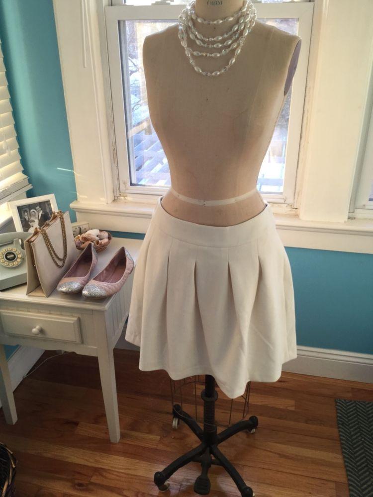 ec929684c5 NWT Banana Republic Ivory Cream Pleated Skirt Size 10 Winter White  #BananaRepublic #Pleated