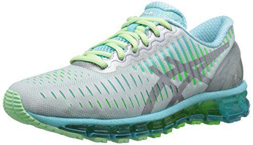 ASICS Women's Gel Quantum 360 Running Shoe, Silver/Carbon/Turquoise, 5 M