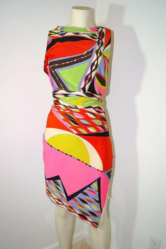 5494d953461a 60s Emilio Pucci Mod Psychedelic Geometric Print Silk Fabric 1960s Pucci  Print Silk Jersey Designer Dress Fabric 2+ Yards Designer Fabric
