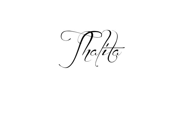 Tatuagem do nome Thalita utilizando o estilo Before the Rain Regular