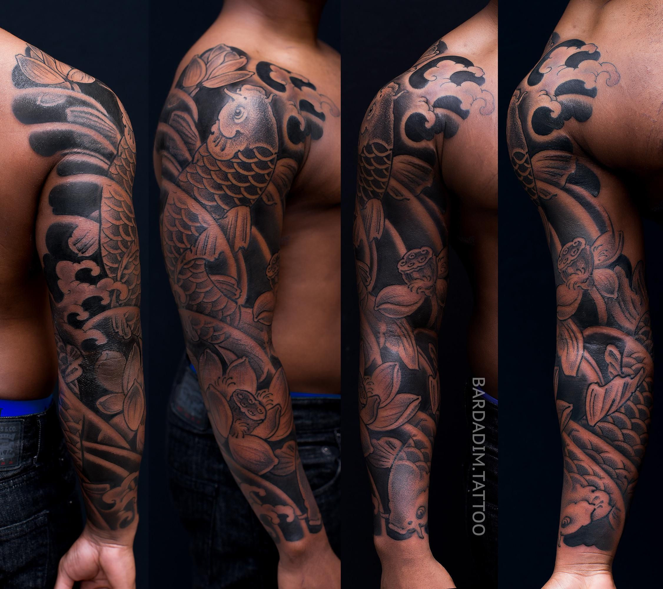 Darker Skin tones Japanese tattoo.