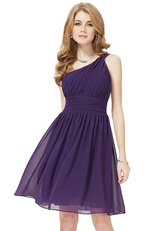 Petite robe classe asymétrique violettte pour cocktail mariage ...