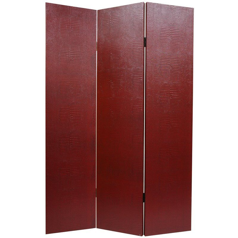 Oriental Furniture 6 ft. Tall Faux Leather Burgundy Crocodile Room Divider - 3 Panel, Red