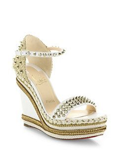 10e73bb48ea4 Christian Louboutin - Madmonica 120 Spiked Leather Espadrille Wedge  Platform Sandals