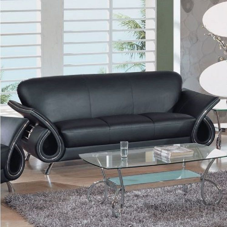 leather chrome sofa black couch contemporary modern chic living room