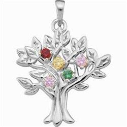 White Gold Family Tree Birthstone Pendant - Holds up to 9 birthstones...very elegant!