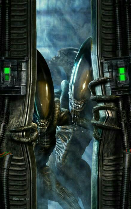 Xenomorph Warrior Drones Breaking Through The Doors Aliens