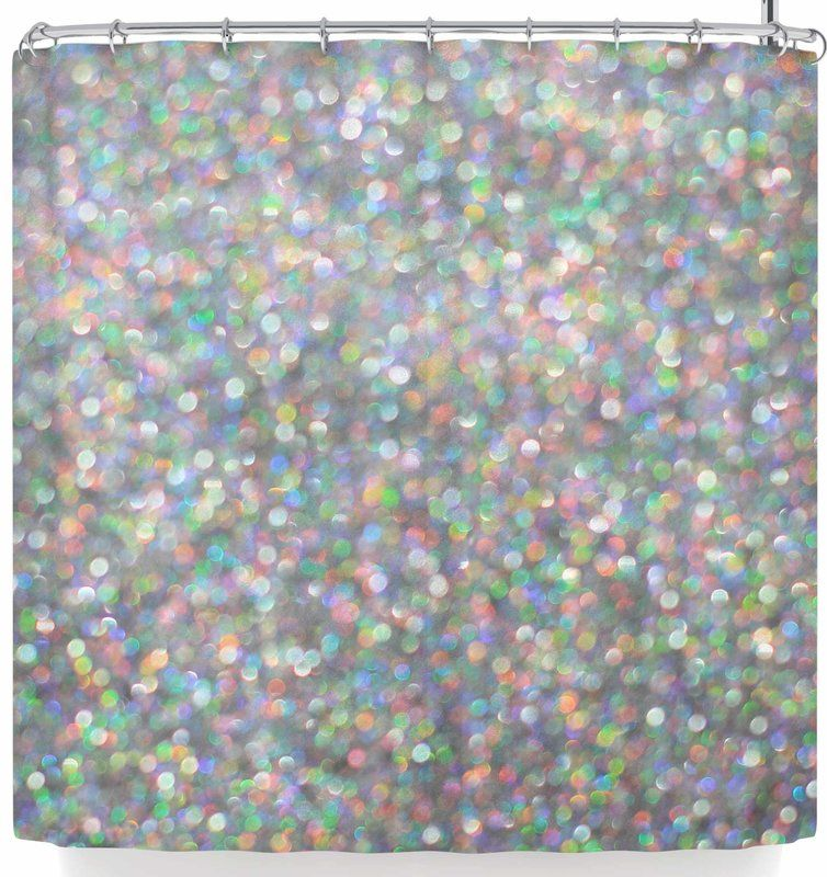 Susan Sanders Rainbow Silver Glitter Single Shower Curtain