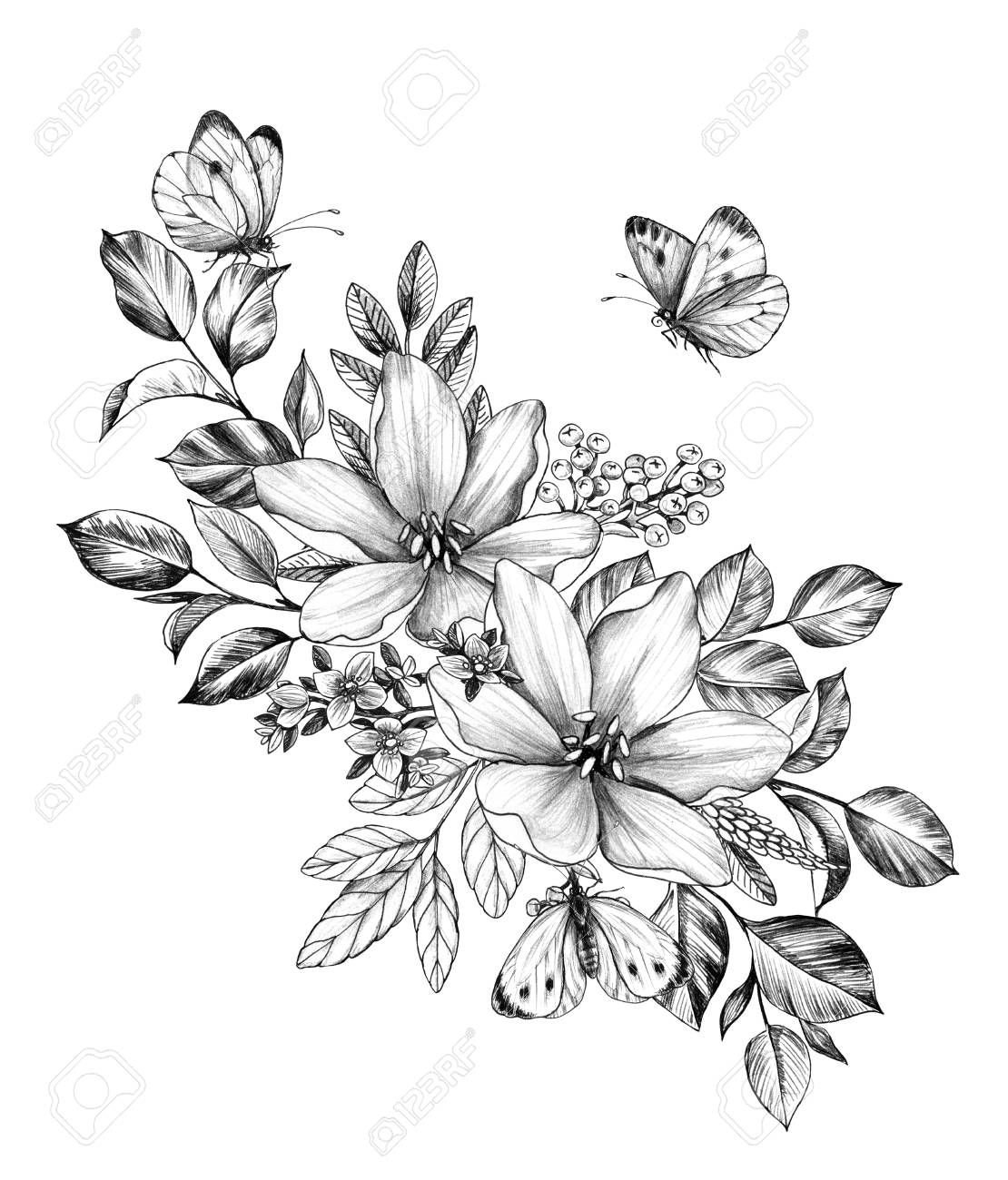 Hand Drawn Floral Bunch With Various Big And Small Flowers And