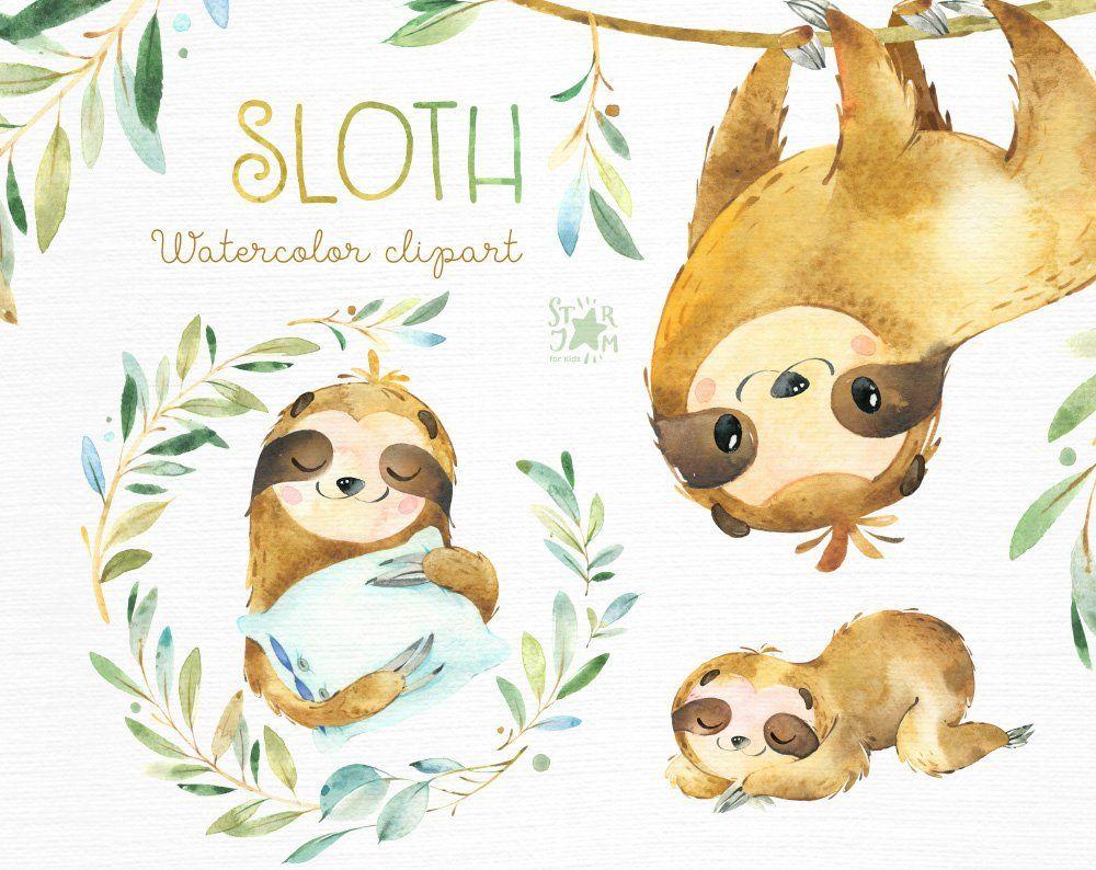 Sloth Little Animals Watercolor Clipart Sleepy Sloths Wreath
