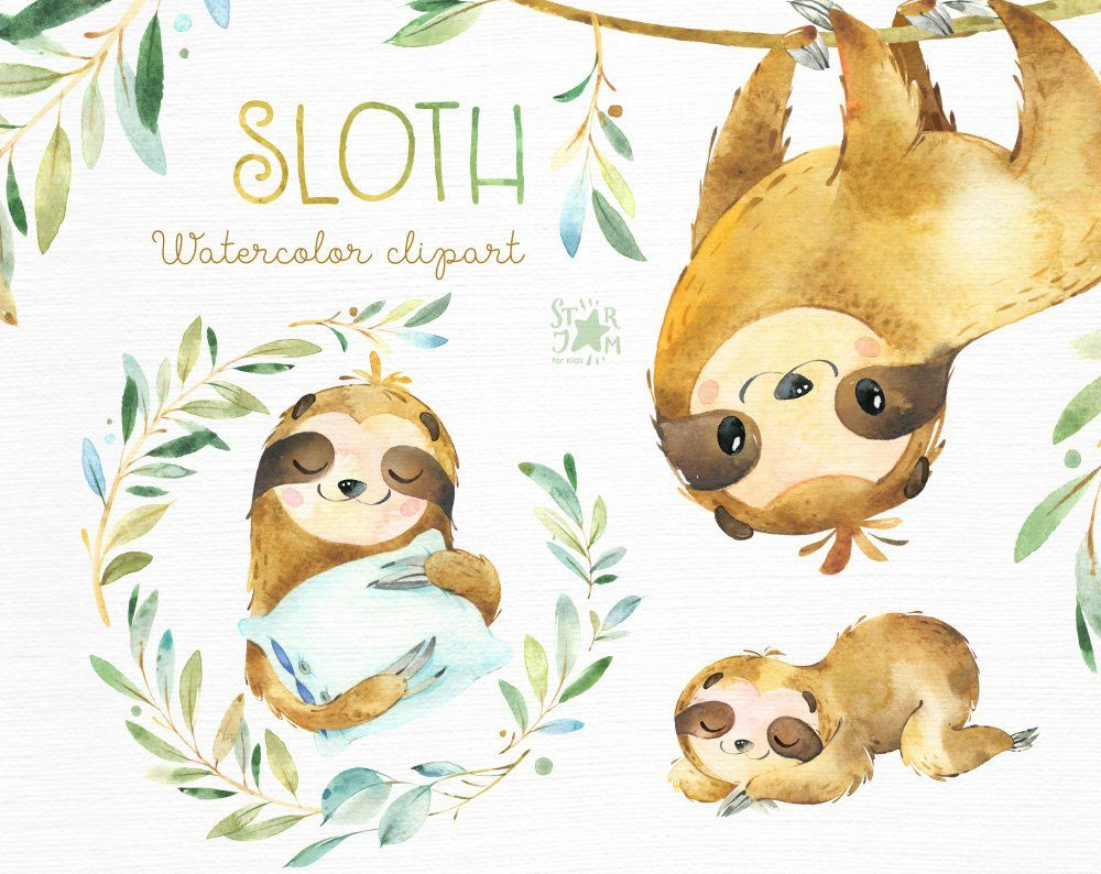 Sloth Little Animals Watercolor Clipart Sleepy Sloths Wreath