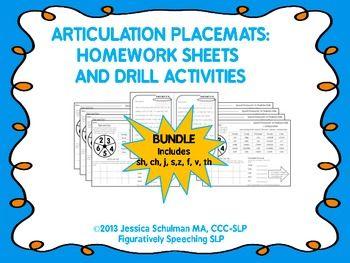 articulation placemats homework sheets  drill activities speech sounds apraxia