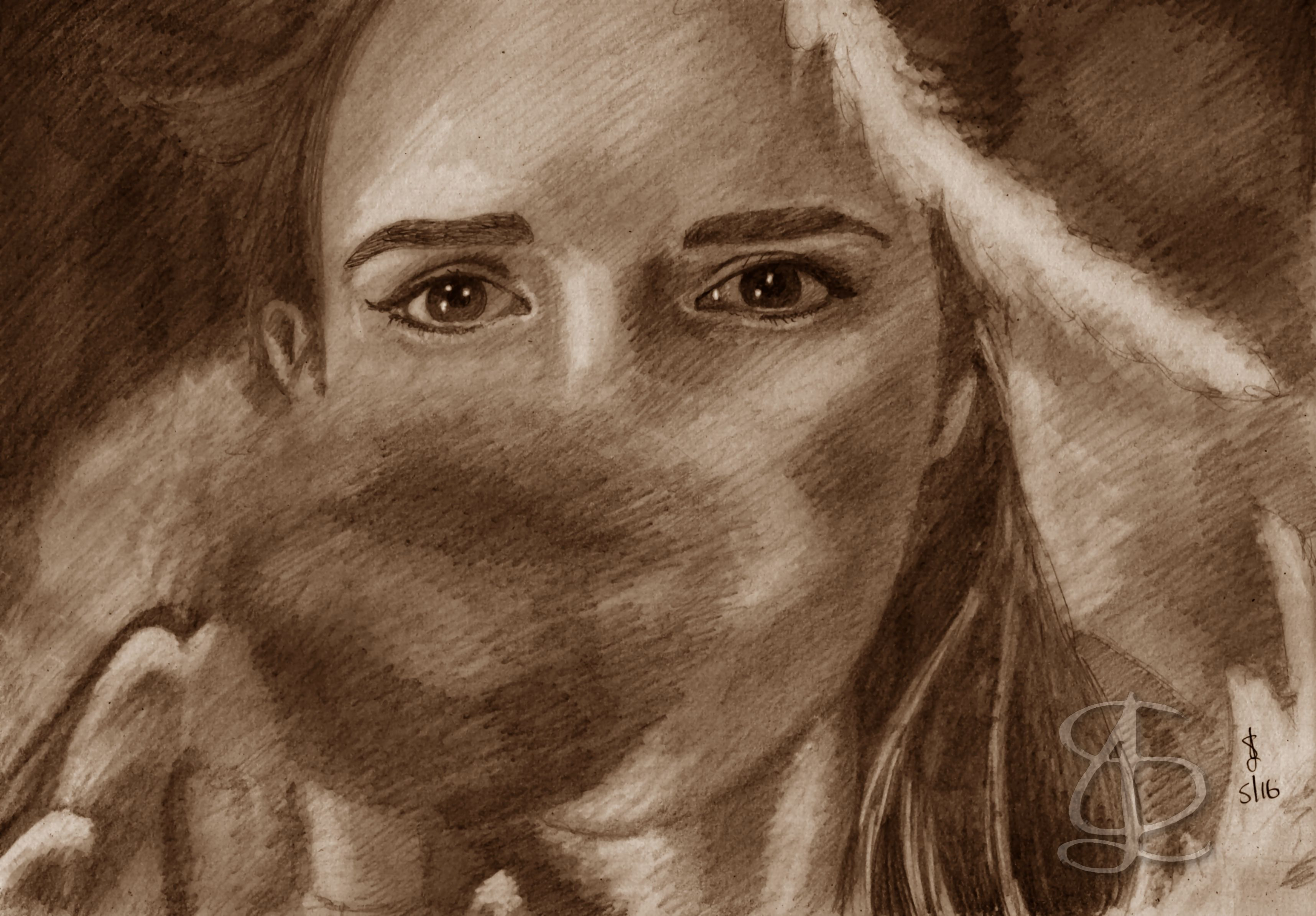 Emma Watson as Belle in ';Beauty and the Beast' (2017). Freehand sketch using HB pencil and eraser. Darkened and tinted digitally.