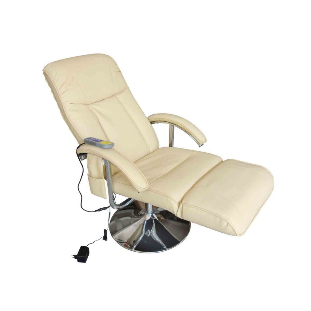 Electric tv recliner massage chair black with a footstool www vidaxl - Recliner Massage Chair Cream Electric Relax Faux Leather Tv Gaming Chair Armrest